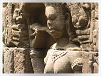 statue of an apsaras at Angkor Wat in Cambodia