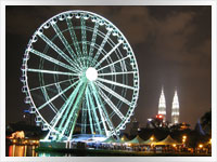 Night-time shot of the Ferris wheel and Pwtronas towers in Kuala Lumpar, Malaysia
