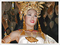 beautiful thai woman dressed for Loy Kratong in Chiang mai, thailand