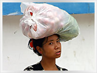 woman from the hmong hill tribe carrying vegetables to the market