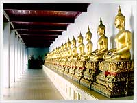 teaching buddha statues at the emerald buddha temple in Bangkok, Thailand
