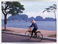 view across halong bay in vietnam