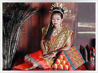 young thai woman wearing traditional Thai costume